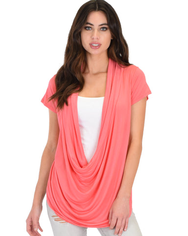 Way Deep Cowl Neck Coral Tunic Top