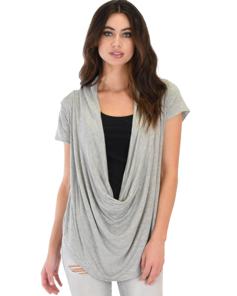 Way Deep Cowl Neck Grey Tunic Top