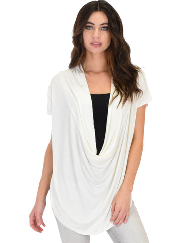 Way Deep Cowl Neck Ivory Tunic Top