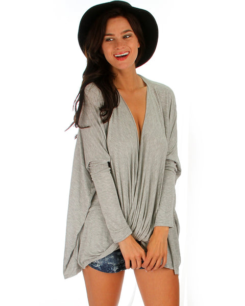 Front Twist Grey Long Sleeve Top