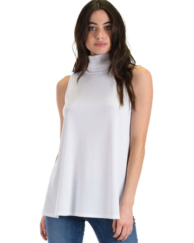 Lyss Loo White Topanga Sleeveless Turtleneck Top