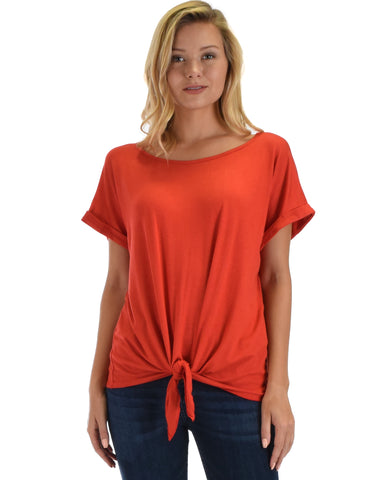Lyss Loo Deer Heart Cuffed Sleeve Front Tie Rust Tunic Top