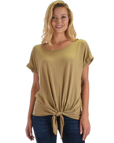Lyss Loo Deer Heart Cuffed Sleeve Front Tie Taupe Tunic Top