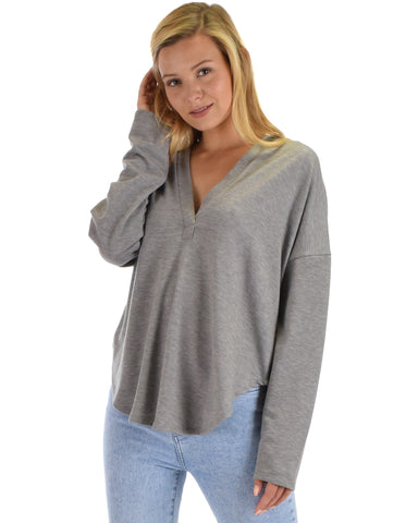 Lyss Loo Work It Out V-neck Hoodie Heather Grey Long Sleeve Top