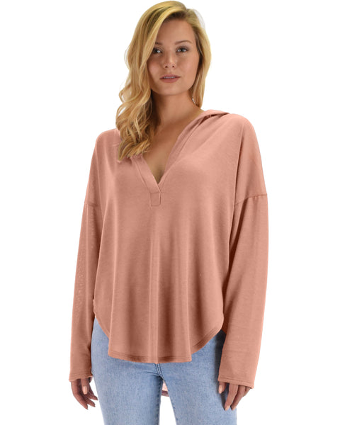 Lyss Loo Work It Out V-neck Hoodie Mauve Long Sleeve Top