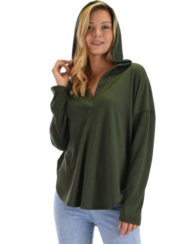 Lyss Loo Work It Out V-neck Hoodie Olive Long Sleeve Top