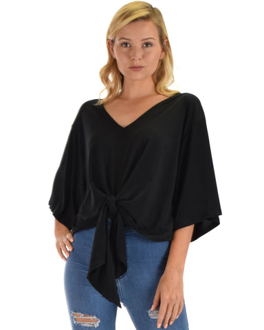 Lyss Loo Sea Day Black Front Tie Top