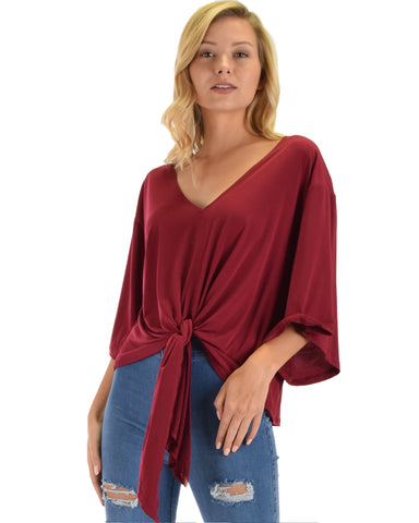 Lyss Loo Sea Day Burgundy Front Tie Top