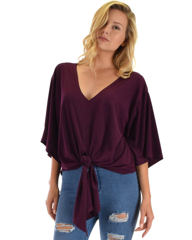 Lyss Loo Sea Day Purple Front Tie Top