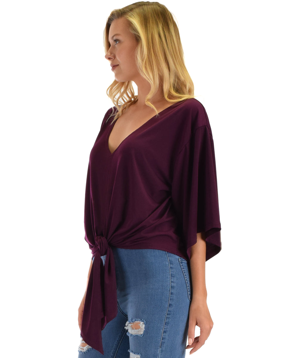 b6f629f824bed2 ... Lyss Loo Sea Day Purple Front Tie Top