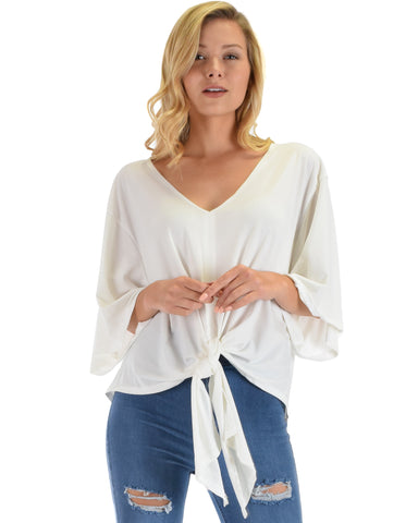 Lyss Loo Sea Day White Front Tie Top