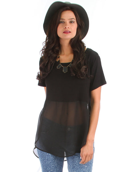 Half & Half Contrast Black Tunic Top