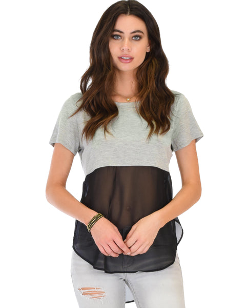 Half & Half Contrast Grey Tunic Top
