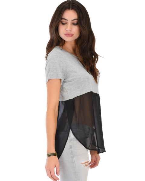 Half And Half Contrast Tunic Top
