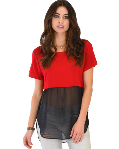 Half & Half Contrast Red Tunic Top