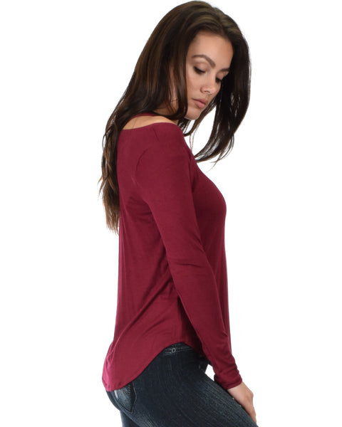 Cut Me Out Cold Shoulder Burgundy Long Sleeve Top