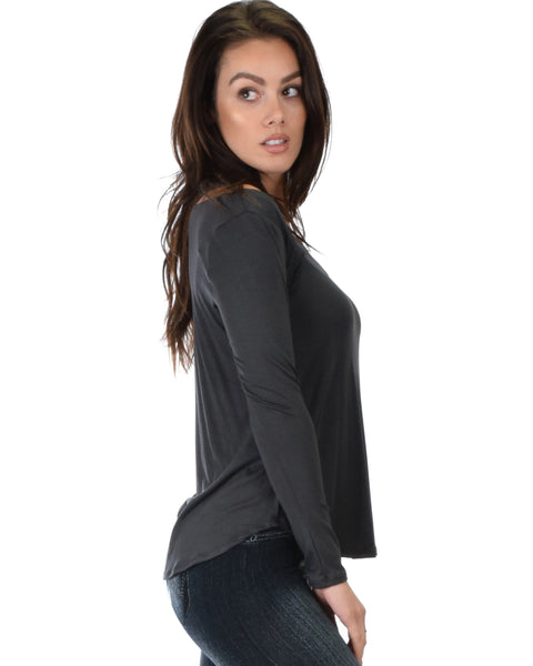 Cut Me Out Cold Shoulder Charcoal Long Sleeve Top