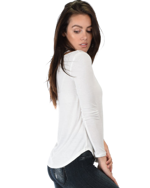 Cut Me Out Cold Shoulder Ivory Long Sleeve Top
