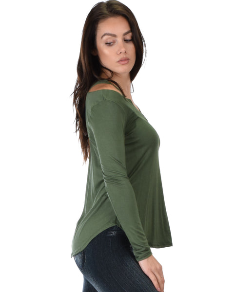 Cut Me Out Cold Shoulder Olive Long Sleeve Top