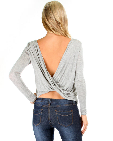 Baby Got Back Twist Long Sleeve Grey Top