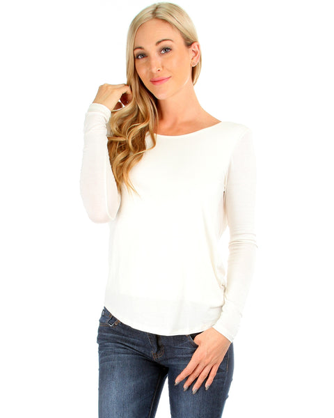 Baby Got Back Twist Long Sleeve Ivory Top