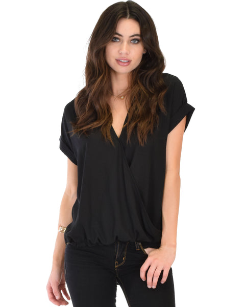 Wrap Star Hi-Low Black Blouse Top