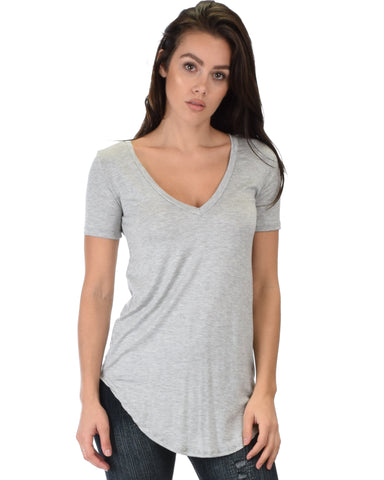 Truly Madly Deep-V Neck Grey Tunic Top