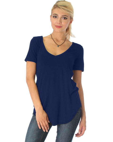 Truly Madly Deep-V Neck Navy Tunic Top