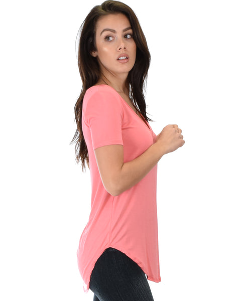 Truly Madly Deep-V Neck Pink Tunic Top
