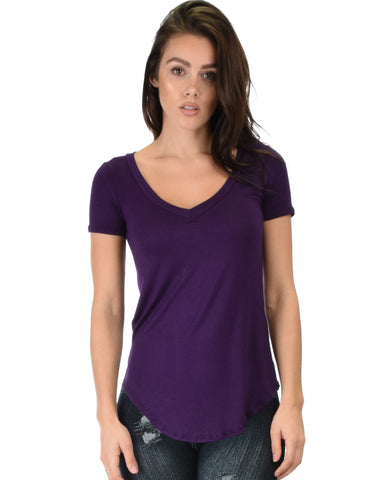 Truly Madly Deep-V Neck Purple Tunic Top