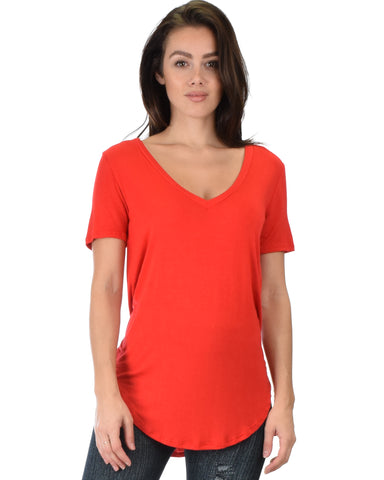 Truly Madly Deep-V Neck Red Tunic Top