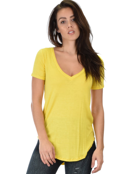 Truly Madly Deep-V Neck Yellow Tunic Top