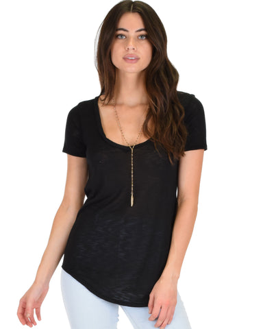 Truly Madly Deep-V Neck Black Slub Tunic Top