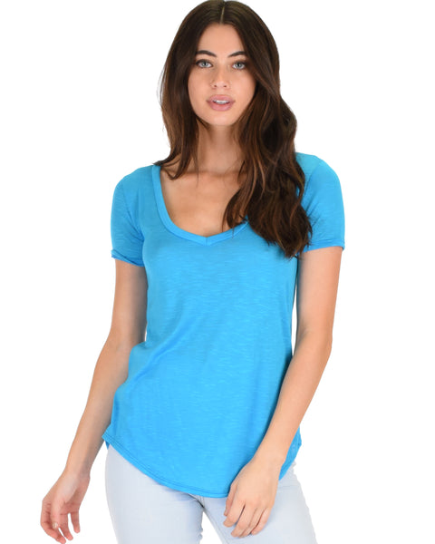 Truly Madly Deep-V Neck Blue Slub Tunic Top