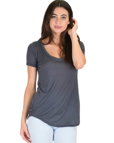 Truly Madly Deep-V Neck Charcoal Slub Tunic Top
