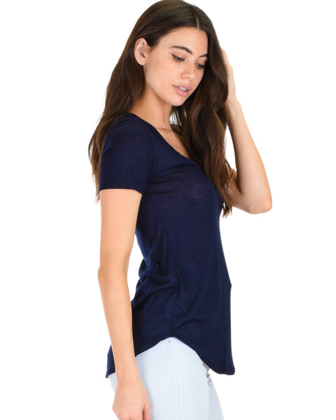 Truly Madly Deep-V Neck Navy Slub Tunic Top