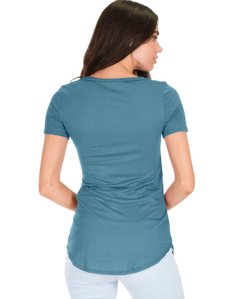 Truly Madly Deep-V Neck Teal Slub Tunic Top
