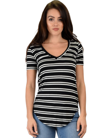 Truly Madly Deep-V Neck Striped Black Tunic Top