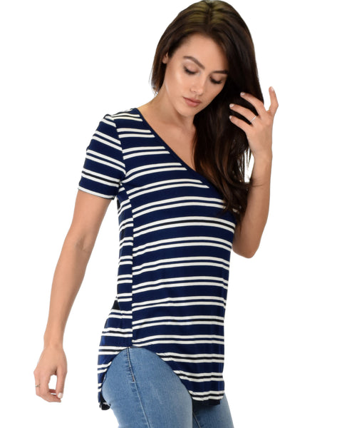 Truly Madly Deep-V Neck Striped Navy Tunic Top