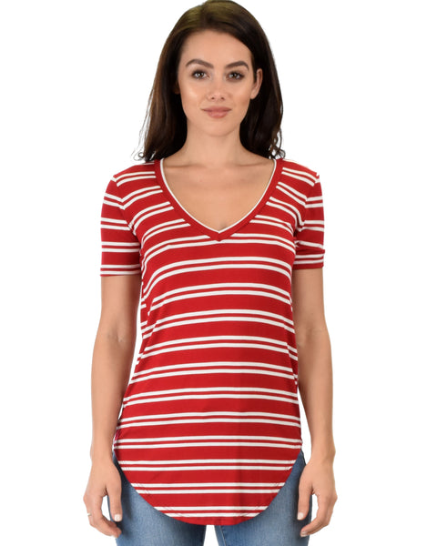 Truly Madly Deep-V Neck Striped Red Tunic Top