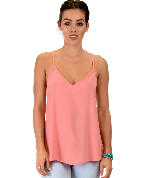 What's Strap-Pening Cross Back Straps Pink Tank Top