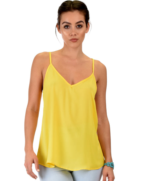 What's Strap-Pening Cross Back Straps Yellow Tank Top