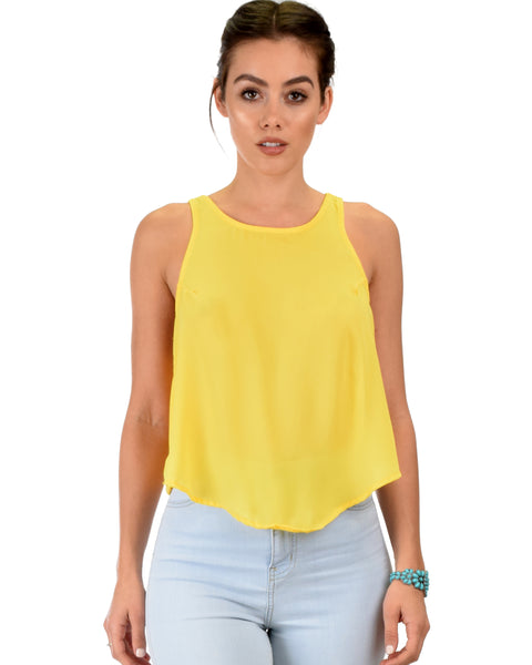 Totally Crossed Out Yellow Tank Top