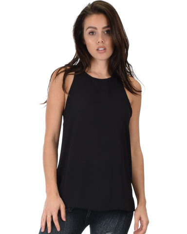 At First Crush Black Sleeveless Top With Keyhole Back