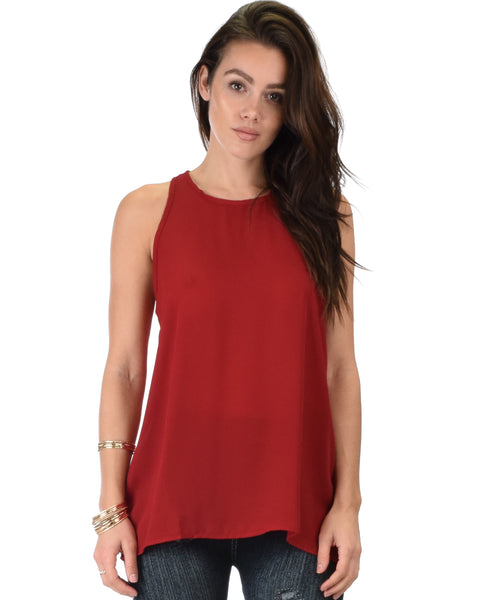 At First Crush Burgundy Sleeveless Top With Keyhole Back