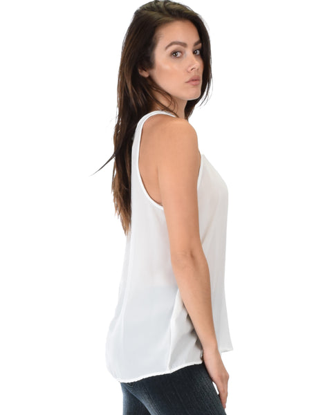 At First Crush Ivory Sleeveless Top With Keyhole Back