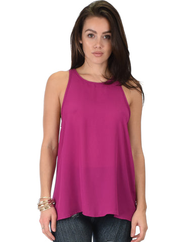 At First Crush Magenta Sleeveless Top With Keyhole Back