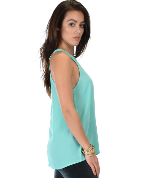 At First Crush Aqua Sleeveless Top With Keyhole Back