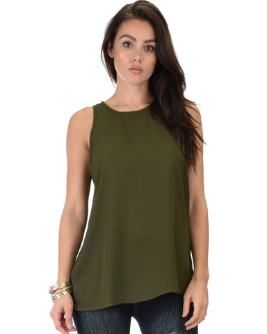At First Crush Olive Sleeveless Top With Keyhole Back