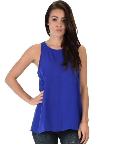 At First Crush Royal Sleeveless Top With Keyhole Back